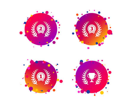 Laurel wreath award icons. Prize cup for winner signs. First, second and third place medals symbols. Gradient circle buttons with icons. Random dots design. Vector Archivio Fotografico - 111103726