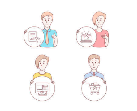 People hand drawn style. Set of Atm, Document and Best manager icons. Remove purchase sign. Money withdraw, File with diagram, Best developer. Delete from cart. Character hold button. People vector Illustration