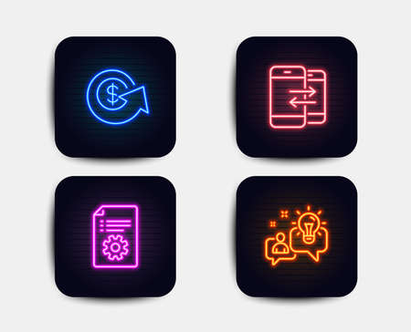 Neon glow lights. Set of Dollar exchange, Technical documentation and Phone communication icons. Idea sign. Money refund, Manual, Incoming and outgoing calls. Solution.  Neon icons. Vector