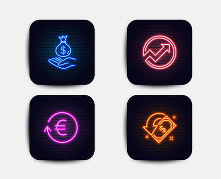 Neon glow lights. Set of Exchange currency, Income money and Audit icons. Cashback sign. Reshresh exchange rate, Savings, Arrow graph. Receive money.  Neon icons. Glowing light banners. Vector