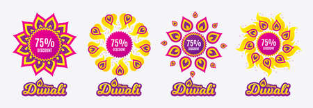 Diwali sales banners. 75% Discount. Sale offer price sign. Special offer symbol. Diwali hindu festival of lights. Shopping tags. Vector