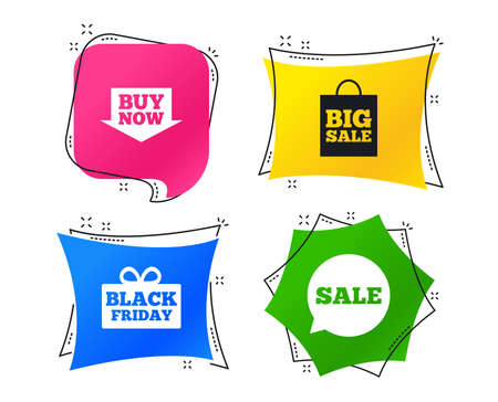 Sale speech bubble icons. Buy now arrow symbols. Black friday gift box signs. Big sale shopping bag. Geometric colorful tags. Banners with flat icons. Black friday sale vector.