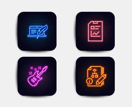 Luci al neon. Set di laptop con copyright, documento di report e icone di chitarra elettrica. Segno di algoritmo. Dispositivo di scrittura, file di statistiche, strumento musicale. Progetto. Icone al neon. Bandiere luminose incandescenti