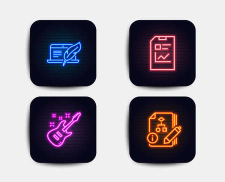 Neon glow lights. Set of Copyright laptop, Report document and Electric guitar icons. Algorithm sign. Writer device, Statistics file, Musical instrument. Project.  Neon icons. Glowing light banners Ilustracja