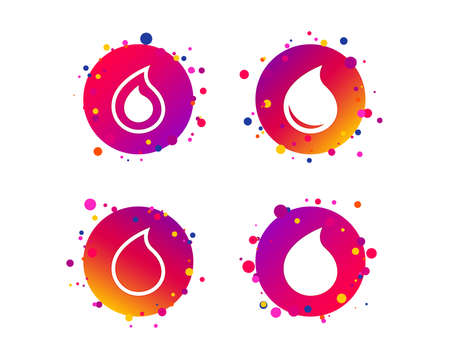 Water drop icons. Tear or Oil drop symbols. Gradient circle buttons with icons. Random dots design. Water drop or oil vector.