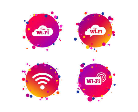 Free Wifi Wireless Network cloud speech bubble icons. Wi-fi zone sign symbols. Gradient circle buttons with icons. Random dots design. Vector