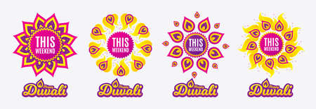 Diwali sales banners. This weekend symbol. Special offer sign. Sale. Diwali hindu festival of lights. Shopping tags. Vector