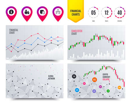 Financial planning charts. Information sign. Group of people and database symbols. Chat speech bubbles sign. Communication icons. Cryptocurrency stock market graphs icons. Trendy design. Vector Stock Illustratie