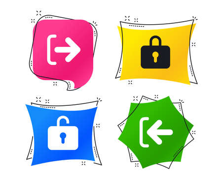 Login and Logout icons. Sign in or Sign out symbols. Lock icon. Geometric colorful tags. Banners with flat icons. Trendy design. Vector