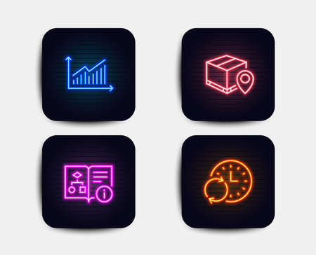 Neon glow lights. Set of Graph, Technical algorithm and Parcel tracking icons. Update time sign. Presentation diagram, Project doc, Package location pin. Refresh clock.  Neon icons. Vector