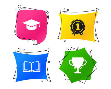 Graduation icons. Graduation student cap sign. Education book symbol. First place award. Winners cup. Geometric colorful tags. Banners with flat icons. Trendy design. Vector 向量圖像