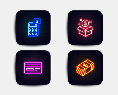 Neon glow lights. Set of Post package, Credit card and Calculator icons. Usd currency sign. Postbox, Card payment, Money management. Buying commerce.  Neon icons. Glowing light banners. Vector