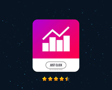 Graph chart sign icon. Diagram symbol. Statistics. Web or internet icon design. Rating stars. Just click button. Vector Ilustração