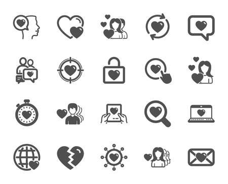 Love icons. Couple, Romantic and Heart signs. Valentines day love symbols. Divorce or Break up. Quality design element. Classic style. Vector