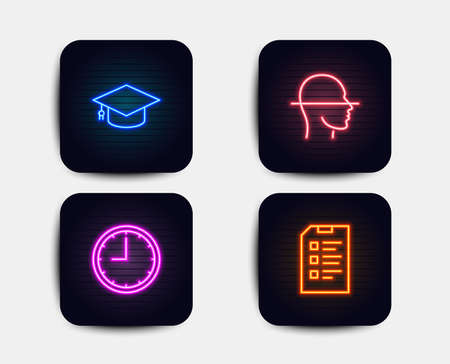 Neon glow lights. Set of Graduation cap, Time and Face scanning icons. Checklist sign. University, Office clock, Faces detection. Data list.  Neon icons. Glowing light banners. Vector