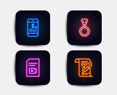Neon glow lights. Set of Mobile finance, Video file and Medal icons. Feather sign. Phone accounting, Vlog page, Winner. Copyright page.  Neon icons. Glowing light banners. Vector