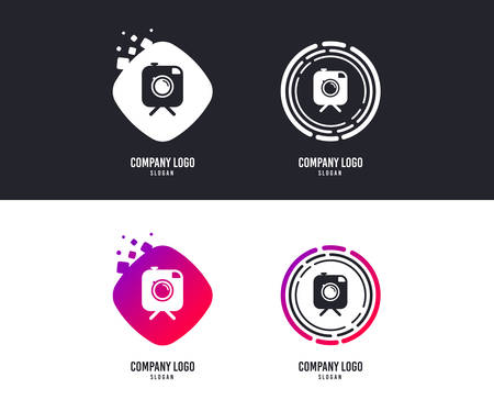 Logotype concept. Hipster photo camera sign icon. Retro camera on tripod symbol. Logo design. Colorful buttons with icons. Vector