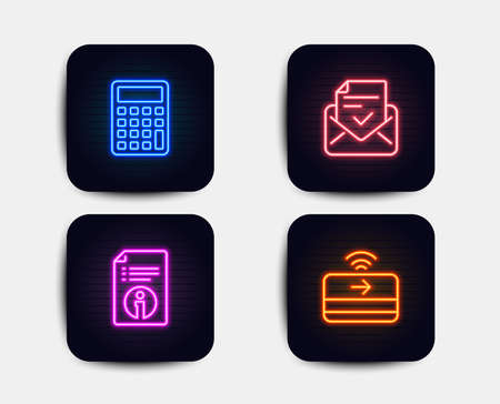 Neon glow lights. Set of Technical info, Calculator and Approved mail icons. Contactless payment sign. Documentation, Accounting device, Confirmed document. Financial payment.  Neon icons. Vector