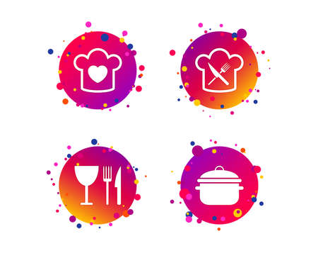 Chief hat with heart and cooking pan icons. Crosswise fork and knife signs. Boil or stew food symbol. Gradient circle buttons with icons. Random dots design. Vector