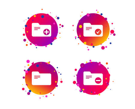 Accounting binders icons. Add or remove document folder symbol. Bookkeeping management with checkbox. Gradient circle buttons with icons. Random dots design. Vector Иллюстрация