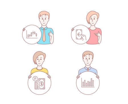 People hand drawn style. Set of Candlestick graph, Finance and Parking payment icons. Bar diagram sign. Finance chart, Eur cash, Paid garage. Statistics infochart.  Character hold circle button