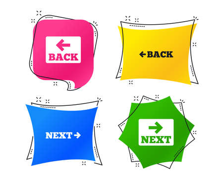 Back and next navigation signs. Arrow direction icons. Geometric colorful tags. Banners with flat icons. Trendy design. Vector Фото со стока - 111103794