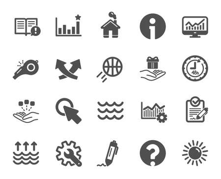 Whistle, Waves and Sun icons. Customisation, Global warming and Question mark signs. Signature Rfp, Information and Efficacy icons. Waves, Consolidation and Operational excellence. Vector Ilustração
