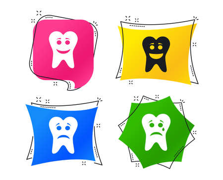 Tooth happy, sad and crying faces icons. Dental care signs. Healthy or unhealthy teeth symbols. Geometric colorful tags. Banners with flat icons. Trendy design. Vector