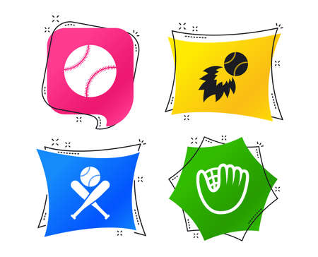 Baseball sport icons. Ball with glove and two crosswise bats signs. Fireball symbol. Geometric colorful tags. Banners with flat icons. Trendy design. Baseball vector Illustration