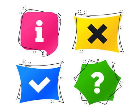 Icone di informazioni. Eliminare e interrogare i segni del punto FAQ. Simbolo del segno di spunta approvato. Tag colorati geometrici. Banner con icone piatte. Design alla moda. Vettore