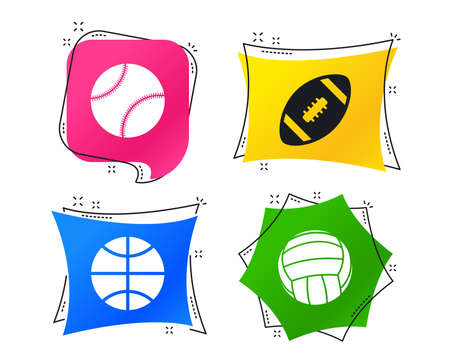 Sport balls icons. Volleyball, Basketball, Baseball and American football signs. Team sport games. Geometric colorful tags. Banners with flat icons. Trendy design. Vector