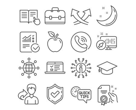 Set of Read instruction, Certificate and Graduation cap icons. Web lectures, Portfolio and Intersection arrows signs. International globe, Quick tips and Checked calculation symbols. Vector Illustration
