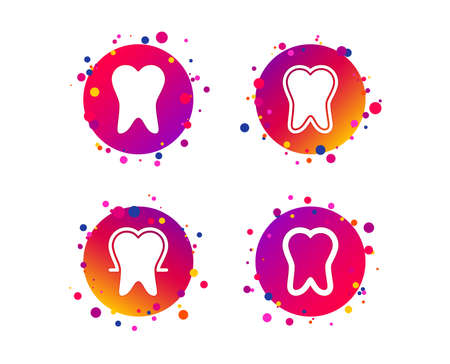Tooth enamel protection icons. Dental care signs. Healthy teeth symbols. Gradient circle buttons with icons. Random dots design. Vector