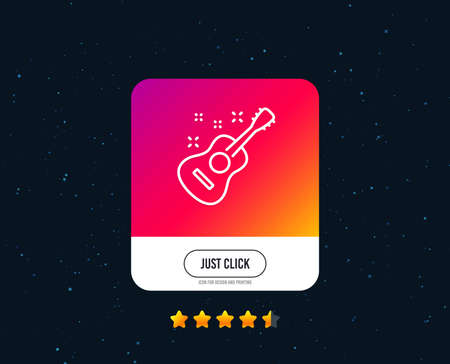 Acoustic guitar line icon. Music sign. Musical instrument symbol. Web or internet line icon design. Rating stars. Just click button. Guitar Vector Stok Fotoğraf - 111103814