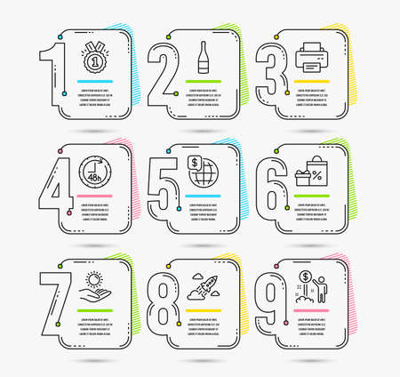 Infographic template with numbers 9 options. Set of Shopping, World money and Printer icons. Sun protection, 48 hours and Approved signs. Startup rocket, Champagne bottle and Income money symbols