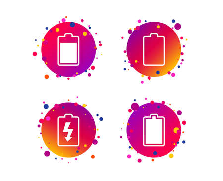Battery charging icons. Electricity signs symbols. Charge levels: full, empty. Gradient circle buttons with icons. Random dots design. Vector
