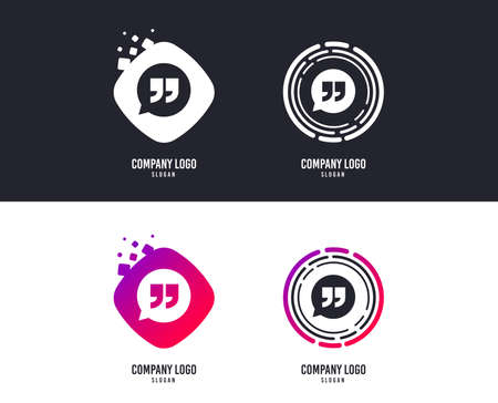 Logotype concept. Quote sign icon. Quotation mark in speech bubble symbol. Double quotes. Logo design. Colorful buttons with icons. Vector