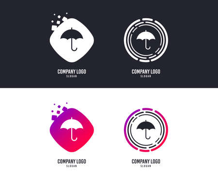 Logotype concept. Umbrella sign icon. Rain protection symbol. Logo design. Colorful buttons with icons. Vector Ilustração
