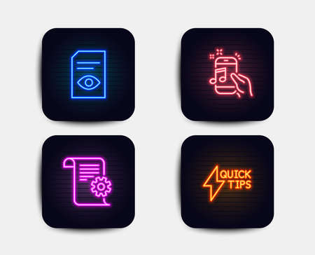 Neon glow lights. Set of Technical documentation, Music phone and View document icons. Quickstart guide sign. Manual, Radio sound, Open file. Lightning symbol.  Neon icons. Glowing light banners