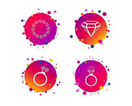 Rings icons. Jewelry with shine diamond signs. Wedding or engagement symbols. Gradient circle buttons with icons. Random dots design. Vector