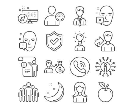 Set of Education, Face attention and Group icons. Face declined, Businessman and Time management signs. Sallary, Woman and Manual doc symbols. Human idea, Exclamation mark, Managers. Vector Illustration