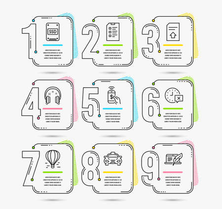 Infographic template with numbers 9 options. Set of Headphones, Air balloon and Taxi icons. Time, Ssd and Checklist signs. Phone payment, Upload file and Copyright laptop symbols. Vector Ilustração