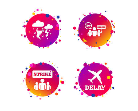 Strike icon. Storm bad weather and group of people signs. Delayed flight symbol. Gradient circle buttons with icons. Random dots design. Vector Illustration