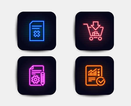 Neon glow lights. Set of Shopping, Documentation and Delete file icons. Checked calculation sign. Add to cart, Project, Remove document. Statistical data.  Neon icons. Glowing light banners. Vector