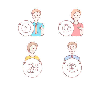 People hand drawn style. Set of Third party, Forward and Reload icons. World globe sign. Team leader, Next direction, Update. Around the world.  Character hold circle button. Man with like hand