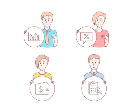 People hand drawn style. Set of Upper arrows, Dollar wallet and Discount message icons. Accounting report sign. Growth infochart, Cash money, Special offer. Check finance. Vector