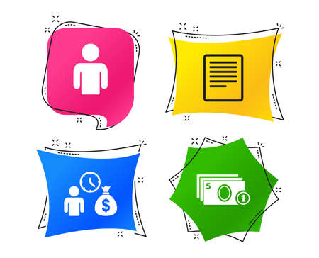 Bank loans icons. Cash money bag symbol. Apply for credit sign. Fill document and get cash money. Geometric colorful tags. Banners with flat icons. Trendy design. Vector