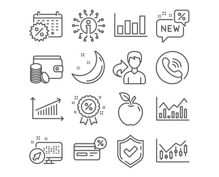 Set of Chart, Cashback and Calendar discounts icons. Infochart, Report diagram and New signs. Financial diagram, Payment method and Discount symbols. Presentation chart, Non-cash payment, Shopping Illustration