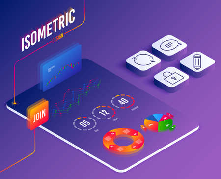 Isometric vector. Set of Pencil, Chat and Refresh icons. Lock sign. Edit data, Speech bubble, Rotation. Private locker. Software or Financial markets. Analysis data concept. Isometric Vector