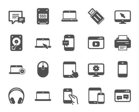 Mobile Devices icons. Set of Laptop, Tablet PC and Smartphone signs. HDD, SSD and Flash drives. Headphones, Printer devices and Mouse icons. Chat speech bubbles. Quality design element. Classic style 矢量图片